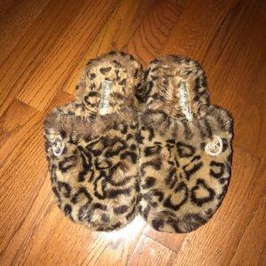 Michael Kors leopard print slippers.